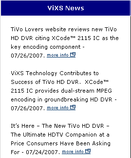 ViXS website capture showing TiVo Lovers