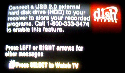 Dish Network DVR USB message