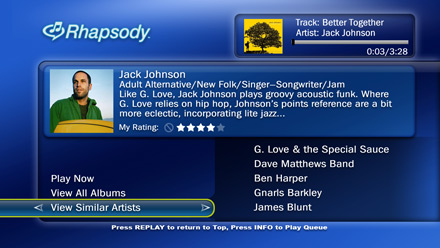 TiVo Rhapsody HME top level interface