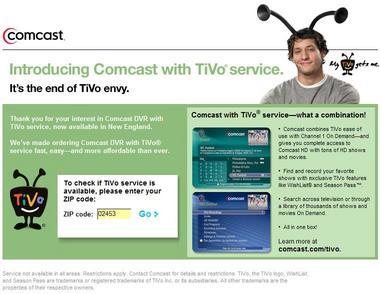 Comcast's TiVo customer page