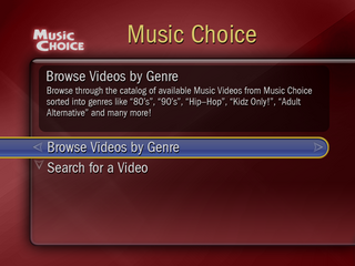 TiVo MusicChoice Main Screen