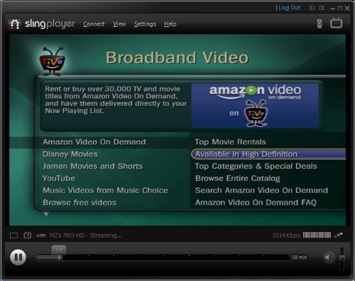 TiVo Amazon VOD 'Available In High Definition' menu screen grab