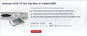 FiOS CableCARD Activation Screen