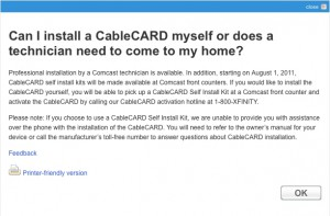 Comcast CableCARD Self-Install Screencap