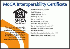 TiVo TCDA90000 MoCA Certificate