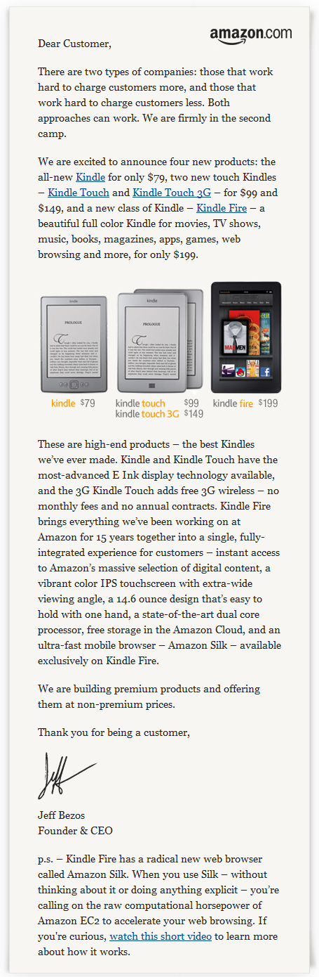 Amazon Kindle Announcement