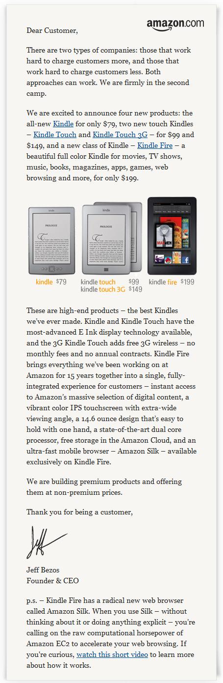 Amazon Kindle Announcement