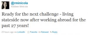 Robbee Minicola Twitter US Move