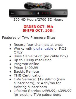 WeaKnees TiVo Premiere Elite Pre-Order 10/10/11