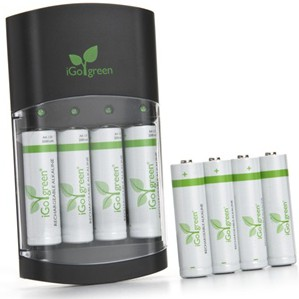 iGo Battery Charger with 8 Rechargeable Batteries